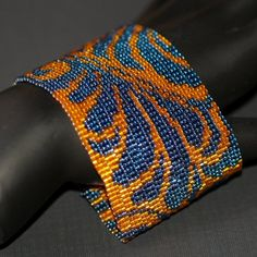 Damask ... Bracelet Cuff . Dramatic . Blue . Orange . Metallic . Bold . Fabric Inspired . Original Design . Beadwoven . Peyote