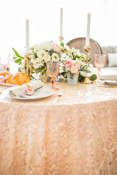 Shimmery champagne and peach tablescape | Photography: Je Taime Beauty - www.jetaimebeauty.com  Read More: http://www.stylemepretty.com/little-black-book-blog/2014/05/28/boudoir-bridal-shower-inspiration/