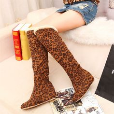 2014 new leopard print barreled over knee elevator big size snow boots women motorcycle boots $25.29