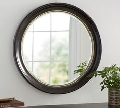 Brussels Round Mirror, At Pottery Barn - Decor & Pillows - Wall Mirrors Framed Mirror Wall, Wall Candle Holders, Mirror Wall Decor, Pottery Barn, Frames On Wall, Round Mirrors, Beveled Mirror, How To Clean Mirrors, Hanging Mirror