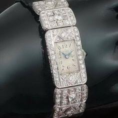 Ladies platinum Art Deco wrist watch with diamonds c.1920. $4,827.00