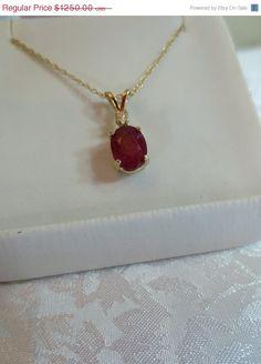 ON SALE 14kt Solid  Gold Oval Rubie Gemstone by RLGemstoneElegance