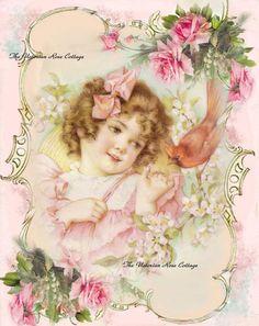Sweet Victorian Girl with Bird Fabric Block Art Print