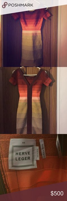 Herve Leger Ombré dress Ombré fitted dress, open splits on sleeves..worn once Herve Leger Dresses Midi