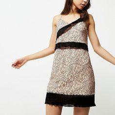 Nude and black lace cami slip dress - slip / cami dresses - dresses - women
