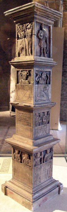 """""""Pilier des Nautes"""", (Pillar of the Boatmen), époque gallo romaine. """"Cet ensemble est particulièrement remarquable parce qu'il mêle des représentations du panthéon gréco-romain, des divinités celtiques et des inscriptions qu'il faut imaginer rehaussées d'ocre rouge. Le Pilier des nautes constitue l'un des rares documents sur la mythologie gauloise qui soient parvenus jusqu'à nous."""" Lire la suite ici : www.paris.culture.fr/fr/ow_pilier.htm"""