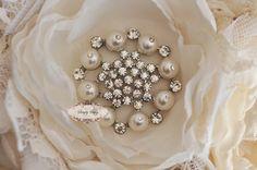 5pcs RD170 Pearl Rhinestone Crystal Metal Embellishment Flatback Brooch wedding bridal favor invitation bouquet flower jewelry brooches