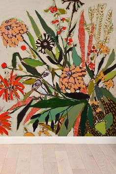 Lulie Wallace Flowers For Nora Wall Mural  #UrbanOutfitters- cute for a nursery or kids room