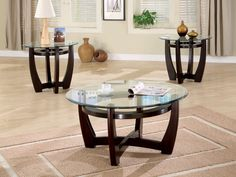 The Coaster Furniture 3 Piece Glass Top Coffee Table Set combines glass and wood construction to stand out in your space. A sturdy tempered glass tabletop. Coffee Table End Table Set, Round Glass Coffee Table, End Table Sets, Coffee Table Design, Glass Table, Side Tables, Round Tables, Couch Table, Table Lamp