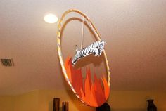 Tiger jumping through flaming hoop!
