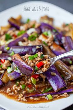 A savory Chinese eggplant stir fry with pork is great to serve with rice. This healthier eggplant & pork recipe only takes 20 minutes! Spicy Recipes, Pork Recipes, Asian Recipes, Cooking Recipes, Healthy Recipes, Ethnic Recipes, Asian Desserts, Asian Foods, Egg Recipes