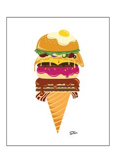 "ON SALE - 8"" x 10"" 'Everything' Ice Cream Art Print"