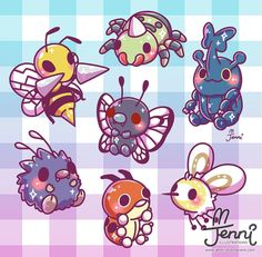 "2,393 Me gusta, 21 comentarios - J E N N I (@jennillustrations) en Instagram: ""I don't like bugs in real life...but I guess bug Pokemons are cute ☺ . . . #bugpokemon #pokemon…"""