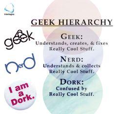 Geek Hierarchy:  geek - nerd - dork