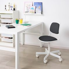 The density foam makes the chair extra comfy and durable enough to outlast many, many hours of computer games and homework. A simple, airy shape combined with the qualities of a good work chair. Ikea Kids Chairs, Ikea Desk Chair, Swivel Office Chair, Diy Chair, Office Chairs, Childrens Desk And Chair, Kids Office, Seat Foam, Work Chair