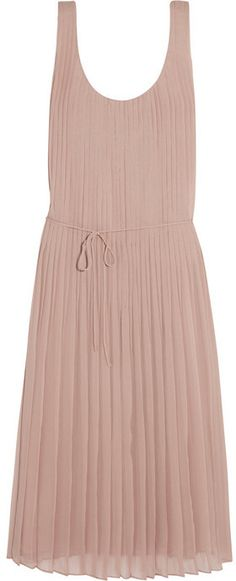 Burberry Brit Linen-paneled pleated silk-chiffon dress on shopstyle.com