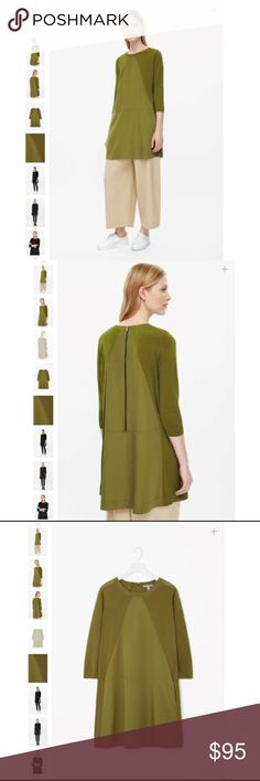 COS Olive Green Triangle Panel Knit Dress This dress is made from light-knit cotton with a contrast triangular fron panel. Flaring towards the hemline, it has contrasting back zip, 3/4 sleeves and neatly ribbed edges.  100% Cotton /  Machine Washable COS Dresses Long Sleeve