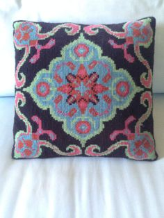 Vintage Needlepoint Chinoiserie Pillow GORGEOUS by musteredgrace