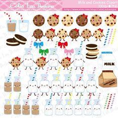 Milk and Cookies Digital Clip Art  cookies milk by CeliaLauDesigns