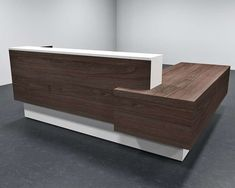 This office reception desk is MADE-TO-ORDER, and can be customized with other requests or preferences for an additional fee. Looking for a different size, shape, color, or detail? Contact us for a custom quote and we'll see if it can be done! Office Table Design, Modern Office Design, Office Furniture Design, Trendy Furniture, Office Interior Design, Office Designs, Modern Offices, Furniture Showroom, Design Offices