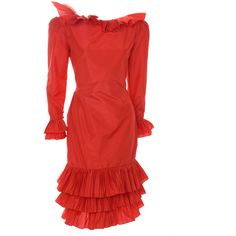 Preowned 80's Bill Blass Couture Red Silk Taffeta Dress ($2,964) ❤ liked on Polyvore featuring dresses, red, couture cocktail dresses, 1980s cocktail dress, eighties dress, bill blass dress and red couture dresses