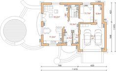 Projekt domu Dom przy Słonecznikowej - DOM EB3-03 - gotowy projekt domu Floor Plans, House Design, Architecture Design, House Plans, Home Design, Floor Plan Drawing, House Floor Plans, Design Homes