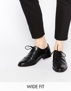 Image 1 ofASOS MOSCOW Wide Fit Leather Flat Shoes