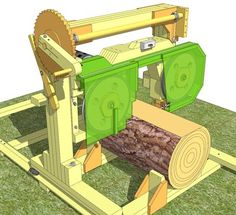 """14"""" bandsaw / sawmill plans  The 14"""" bandsaw/sawmill is a small light bandsw that can be used in your workshop, or on a special stand as a sawmill for cutting up logs. As a sawmill, it is light duty, comparable in speed and portability to chainsaw sawmills."""