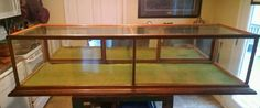 Antique Early Century Table Top 6 Ft Long OAK Glass Display Case 3 Sliding Doors