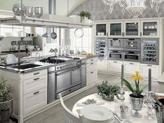 Farmhouse Style Kitchen Interior by Minacciolo - Classic farmhouse style kitchen look may be the first step toward these kitchen designs. They will use contemporary kitchen designs and materials like metal and stainless home appliances. Grey Kitchens, Luxury Kitchens, Cool Kitchens, Farmhouse Kitchen Signs, Modern Farmhouse Kitchens, Kitchen Modern, Farmhouse Table, Farmhouse Trim, Farmhouse Flooring