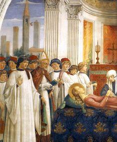 Благовестие о смерти и Погребение св. Фины (деталь). Росписи Доменико Гирландайо в капелле св. Фины. Колледжиата в Сан-Джиминьяно , 1473-75