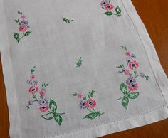 Ivory Linen Table Runner Vintage Hand Embroidered Pink Lavender Purple Flowers Green Leaves Black Accents Hemstitched Hem x by VintageBabyByKay on Etsy Vintage Embroidery, Embroidery Stitches, Embroidery Designs, Dress Design Sketches, Blue Towels, Vintage Textiles, Embroidered Flowers, Vintage Children, Purple Flowers