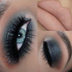 Makeup Looks For Green Eyes, Makeup Eye Looks, Eye Makeup Art, Skin Makeup, Black Makeup For Blue Eyes, Crazy Makeup, Purple Eye Makeup, Glitter Eye Makeup, Colorful Eye Makeup