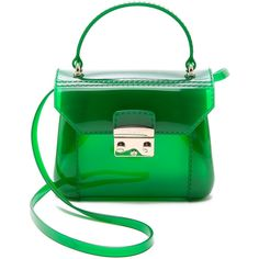 Furla Candy Bonbon Mini Bag - Emerald (1.405 ARS) ❤ liked on Polyvore featuring bags, handbags, mini bag, strap bag, hardware bag, green bags and furla bags
