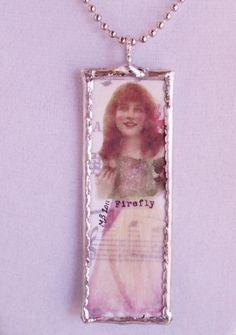 Microscope slide pendant necklace Princess by fireflygirl777