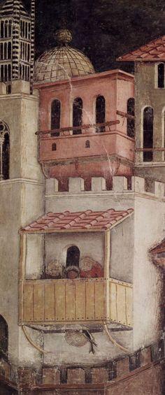 Lorenzetti, Ambrogio: Freskenzyklus »Allegorien der guten und der schlechten Regierung« im Ratssaal der Neun, Palazzo Pubblico in Siena, Szene: Auswirkungen der guten Regierung in der Stadt, Detail: Architektur