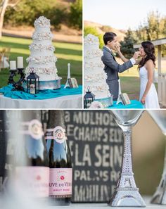 Paris Themed Wedding- how cute are those toasting glasses with the Eiffel tower as the stem