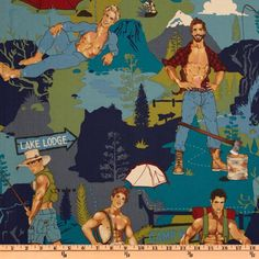 Designed by Alexander Henry, this cotton print fabric features pin-up men in an allover design and is perfect for quilting, apparel and home décor accents. Colors include olive, teal, navy, tan and brown.