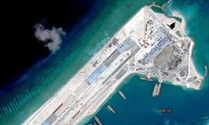 Airstrip construction on the Fiery Cross reef in the South China Sea.