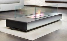 Portable Fireplace for Outdoor Activity : Fabulous Modern Minimalist Elegant Glasses Portable Fireplace