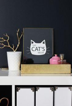 8.5 x 11 The Cat's Meow Print - Black, Wall Decor, Sale