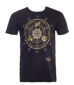 Foretell thefuture with the Legend ofZelda: Skyward Sword T-Shirt. Featuring a Zodiac styled designwith classic icons from the series. The future looks golden with this mystical tee. Material: 100% Cotton