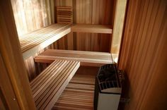 Besides offering relaxation, a sauna room can be a vigorous way to feel the winter pass more quickly.Electric and wood heaters are more likely to be used in a wet sauna room, in which rocks are hea. Diy Sauna, Infrarot Sauna, Sauna Heater, Contemporary Saunas, Modern Saunas, Home Sauna Kit, Sauna House, Sauna Steam Room, Sauna Room