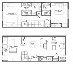 Typically residential units are 20' wide or wider but on occasion we design units that are much narrower. The example above is only 13' wide (4 meters) with a total living area of 1,200 square feet...