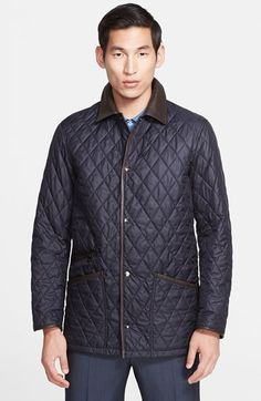 Salvatore Ferragamo Leather Trim Quilted Barn Coat available at #Nordstrom