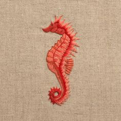 Seahorse RedHand Towel - Natural Linen – Henry Handwork