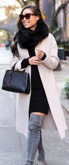 #winter #fashion /  Pink Coat / Black Faux Fur Scarf / Black Leather Tote Bag / Grey Velvet OTK Boots / Black Dress