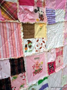 Cute idea for those kids clothes we treasure but aren't sure what to do with - this quilt looks easy and full of warm fuzzies!