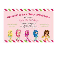 Strawberry Shortcake Birthday Invitation  I Design You by bethzfl, $10.00