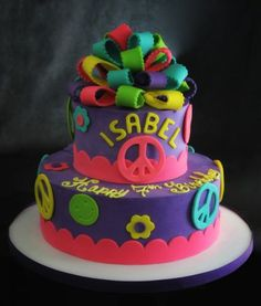 60's retro Cake with Peace Signs Children's Cakes Gallery | butterfly bakeshop